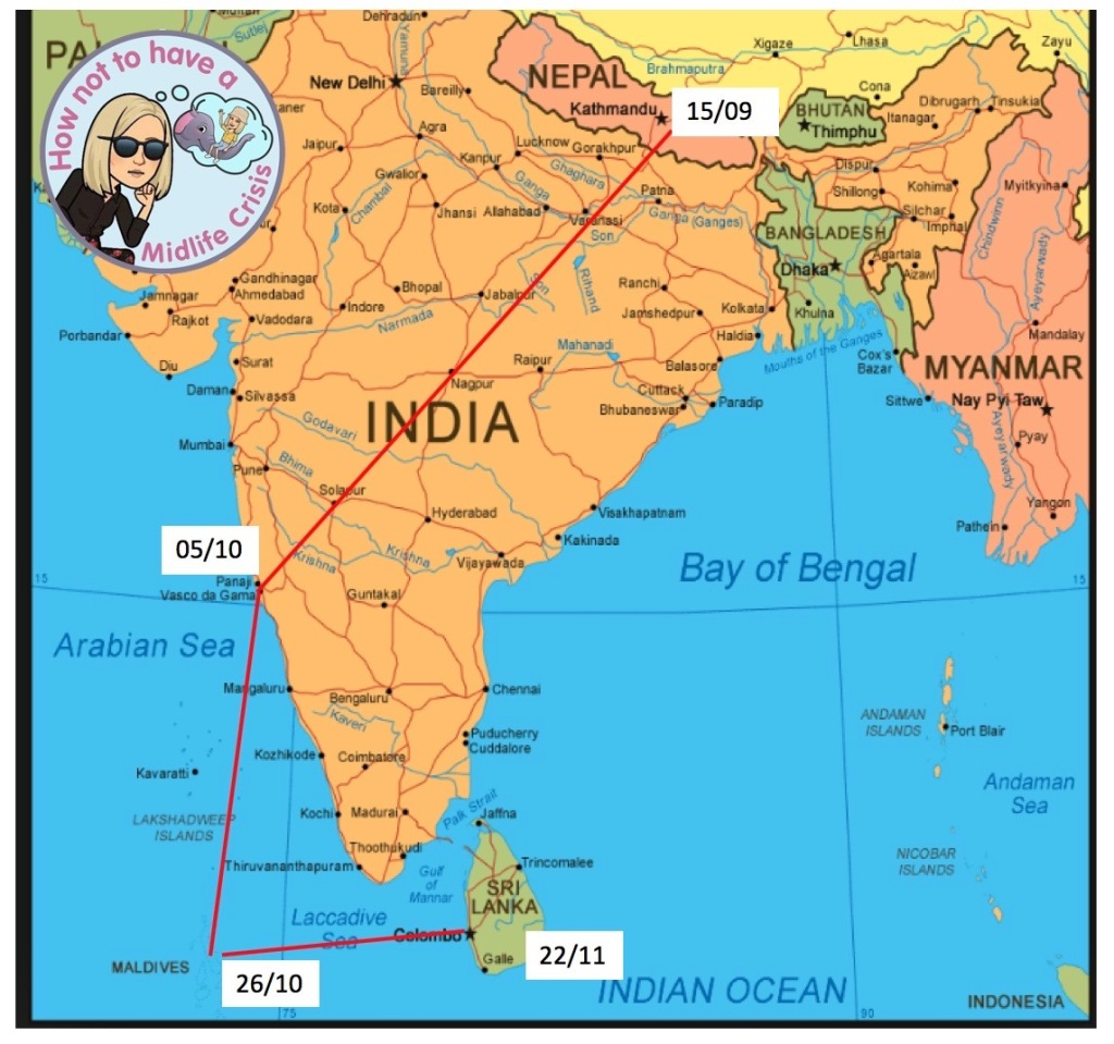 Route map of Jayne's travels over the next three months. From Kathmandu to Columbo in Sri Lanka.